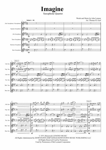 Imagine - John Lennon's Classic  - Saxophone Quartet