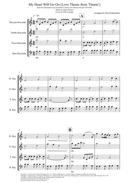 My Heart Will Go On (Love Theme from Titanic) for Recorder Quartet
