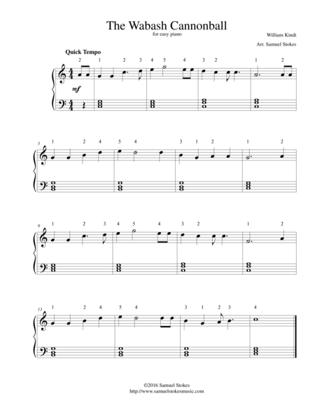 The Wabash Cannonball - for easy piano