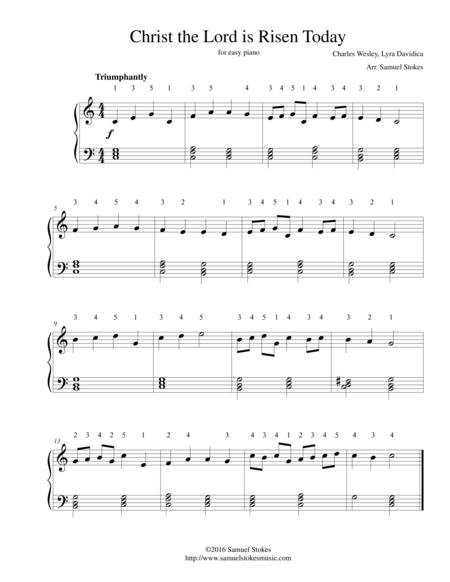 Christ the Lord is Risen Today (Jesus Christ is Risen Today) - for easy piano