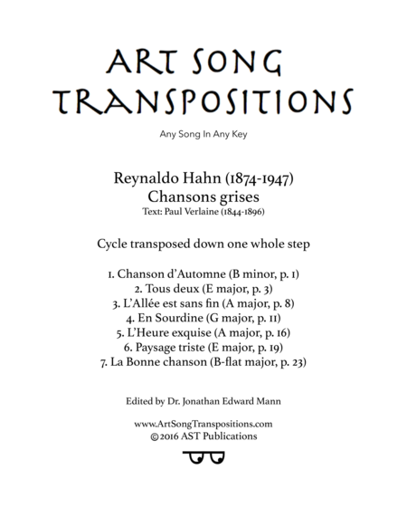 Chansons grises (transposed down one whole step)