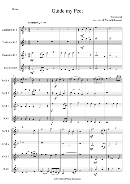 Guide my Feet for clarinet quartet