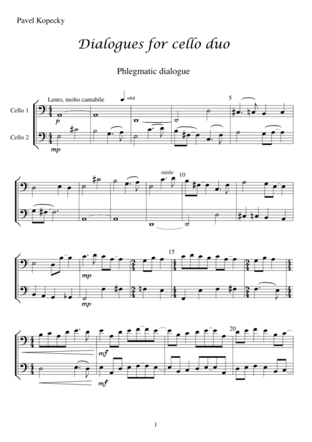 PHLEGMATIC _ 1st part of Dialogues for cello duo