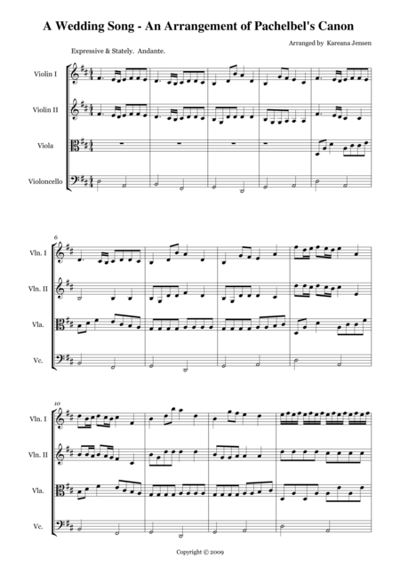 Wedding Arrangement of Pachelbel's Canon