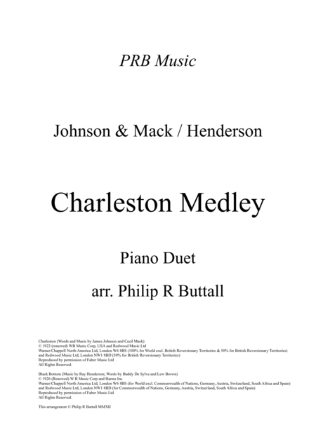 Charleston Medley (Piano Duet - Four Hands)