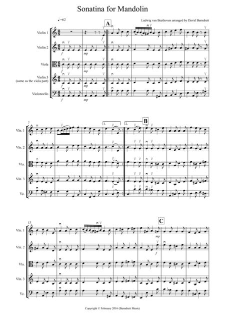 Sonatina by Beethoven for String Quartet