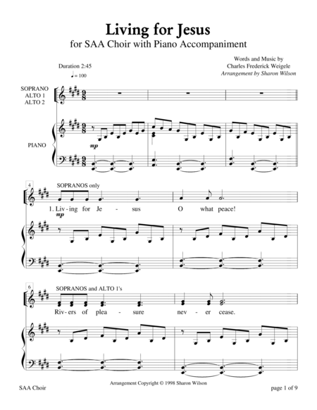 Living for Jesus (for SAA choir with Piano Accompaniment)