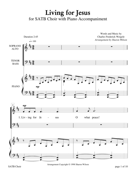 Living for Jesus (for SATB choir with Piano Accompaniment)