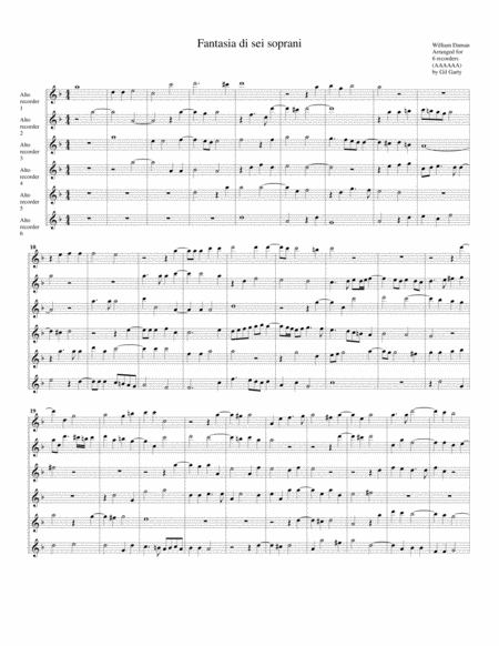 Fantasia di sei soprani (version for 6 alto recorders)