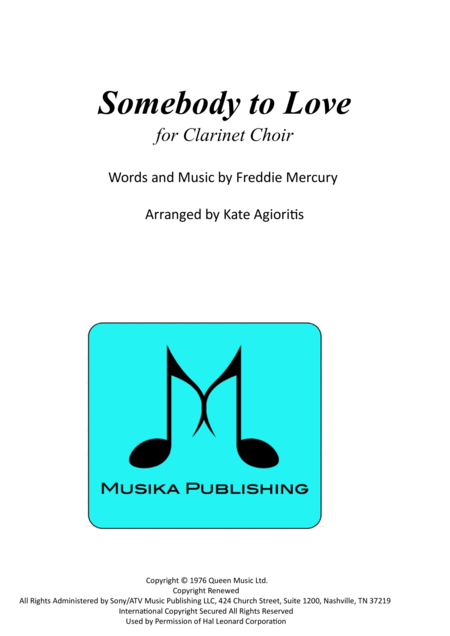 Somebody To Love - for Clarinet Choir