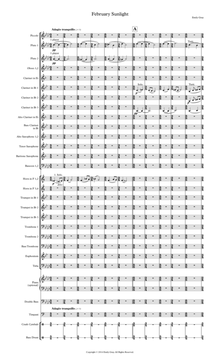 February Sunlight (Wind Orchestra Score)