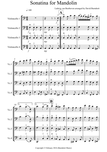 Sonatina by Beethoven for Cello Quartet