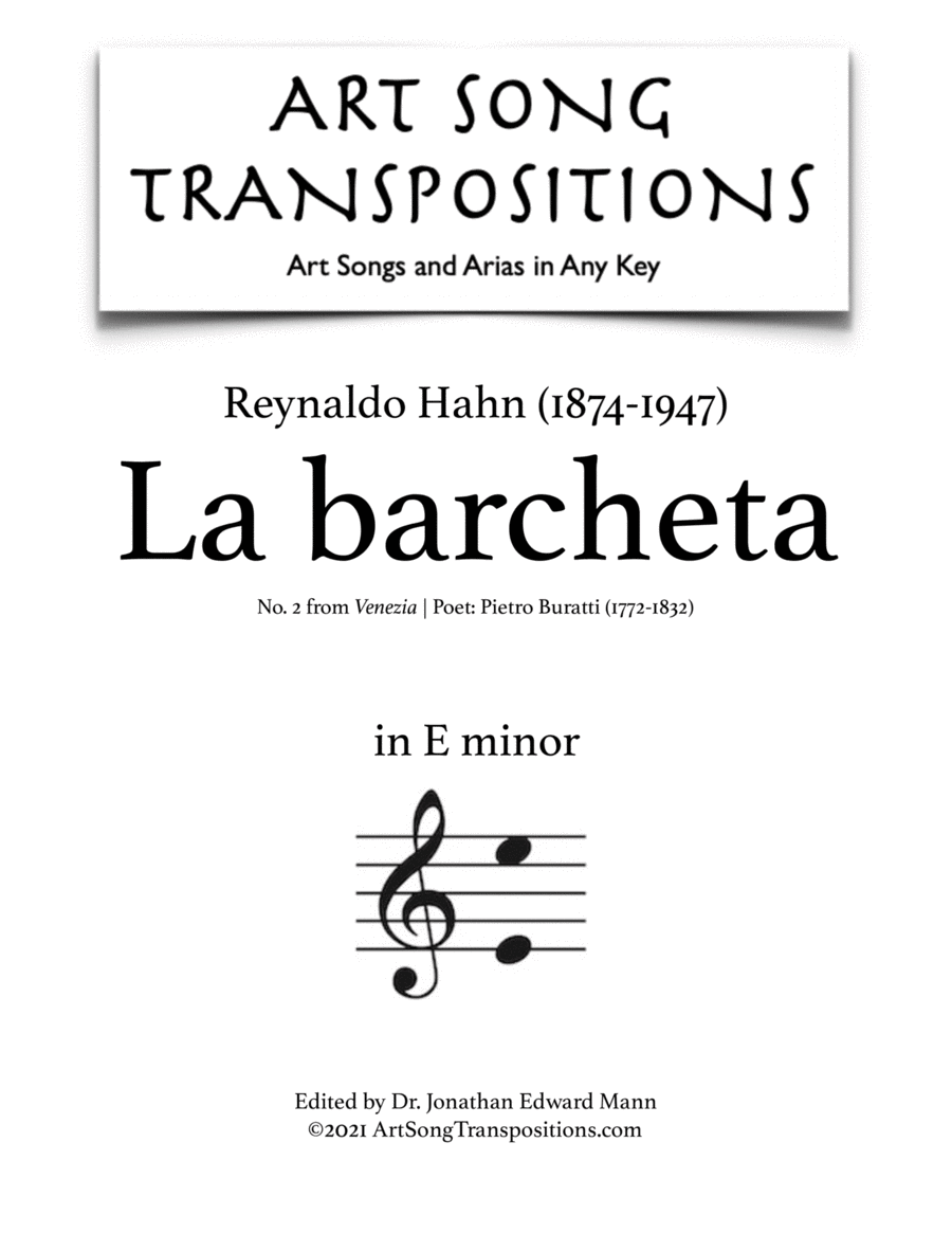 La Barcheta (E minor)
