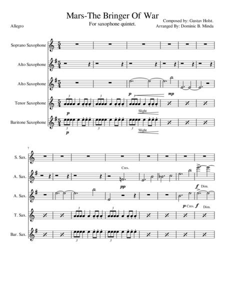 Mars, The Bringer Of War - For Saxophone Quintet