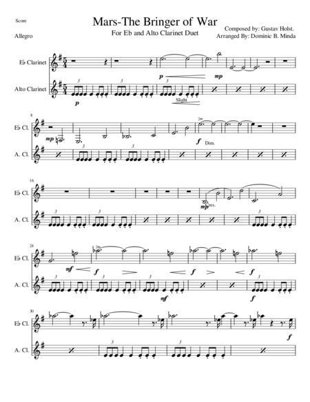 Mars, The Bringer Of War - For Eb and Alto Clarinet duet.