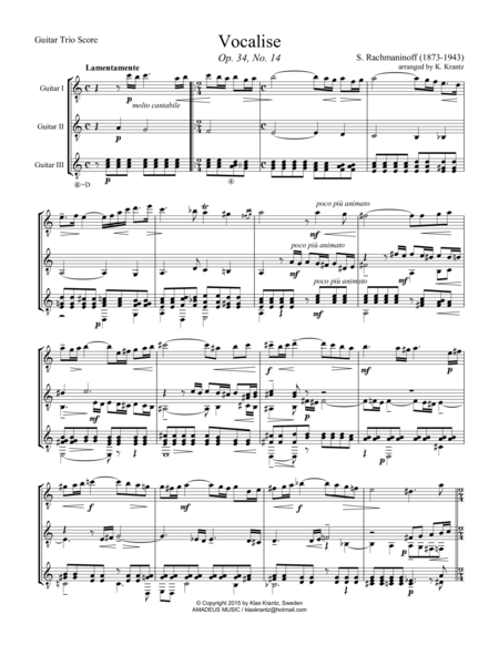 Vocalise Op. 34 for guitar trio