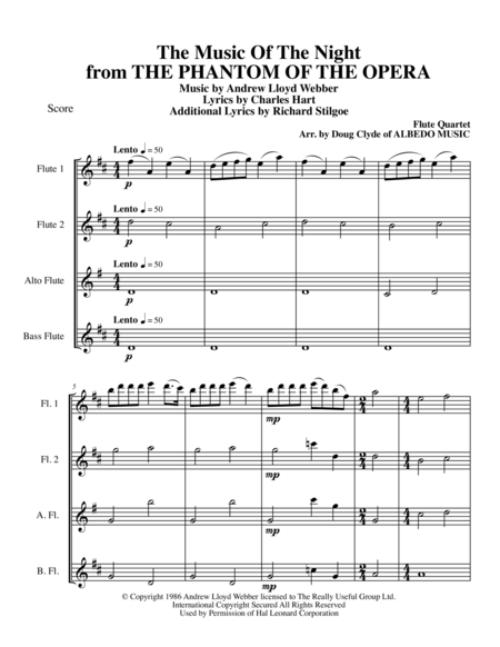 The Music Of The Night from THE PHANTOM OF THE OPERA for Flute Quartet