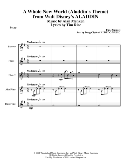 A Whole New World (Aladdin's Theme) from Walt Disney's ALADDIN for Flute Quintet
