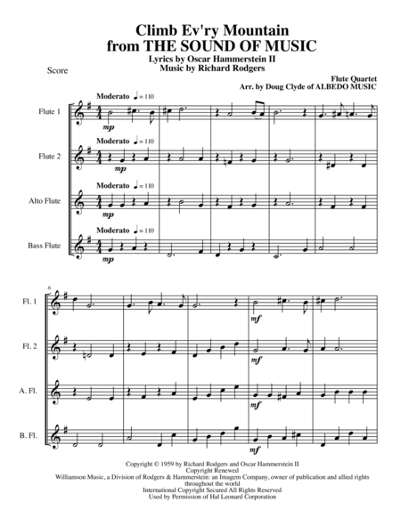Climb Ev'ry Mountain from THE SOUND OF MUSIC for Flute Quartet