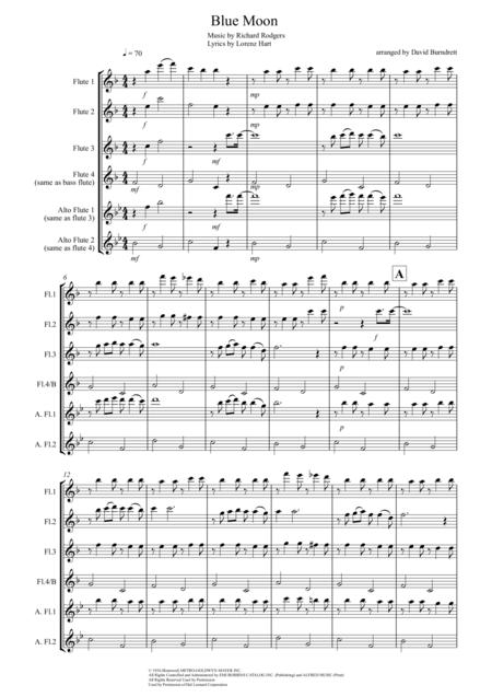 Blue Moon for Flute Quartet