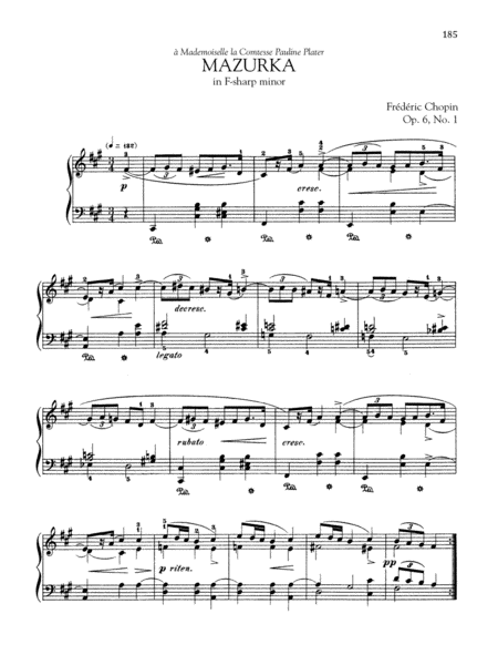 Mazurka in F-sharp minor, Op. 6, No. 1