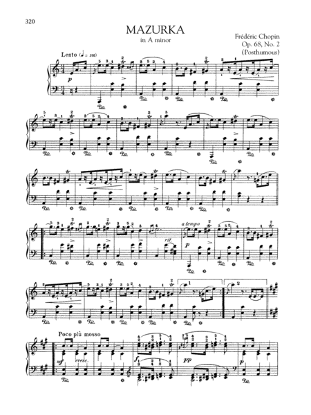 Mazurka in A minor, Op. 68, No. 2 (Posthumous)