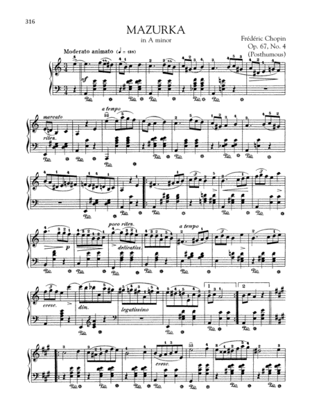 Mazurka in A minor, Op. 67, No. 4 (Posthumous)