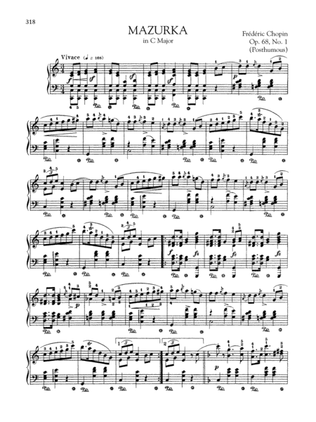 Mazurka in C Major, Op. 68, No. 1 (Posthumous)