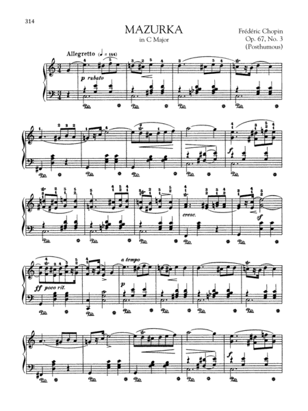 Mazurka in C Major, Op. 67, No. 3 (Posthumous)