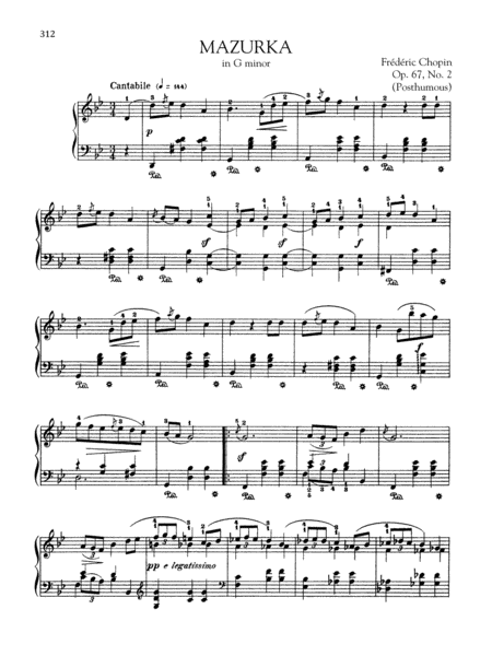 Mazurka in G minor, Op. 67, No. 2 (Posthumous)