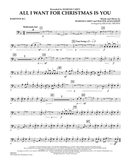 All I Want for Christmas Is You - Baritone B.C.