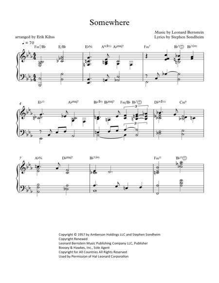 Somewhere - piano arrangement by Erik Kihss