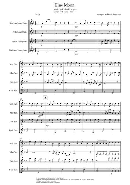 Blue Moon for Saxophone Quartet