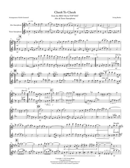 Cheek To Cheek: Alto & Tenor  Saxophone Duet (1930s style)