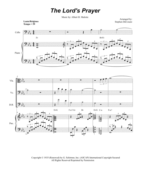 The Lord's Prayer (for String Quintet - Piano Accompaniment)