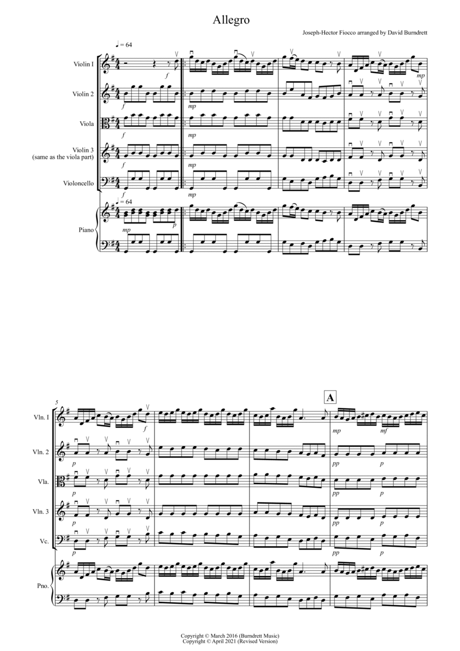 Allegro by Fiocco for String Quartet