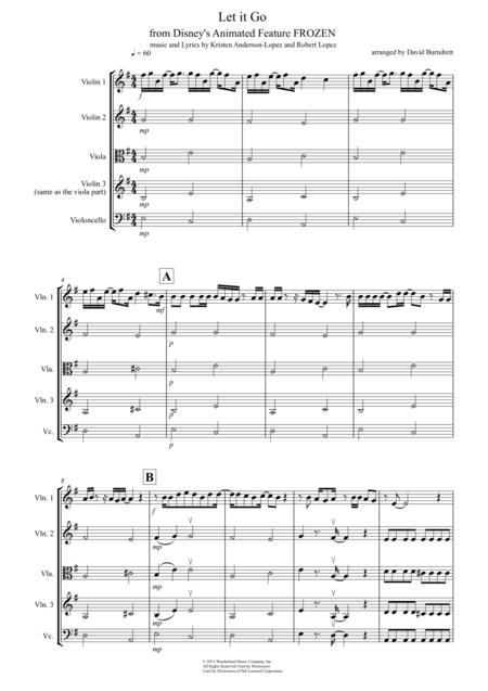 Let It Go (from Frozen) for String Quartet