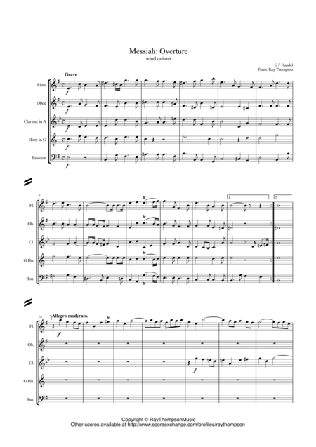 Handel: Overture (Messiah)(Der Messias: Mozart's arrangement) arr. wind quintet