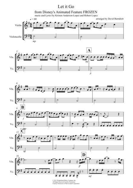 Let it go frozen sheet music violin