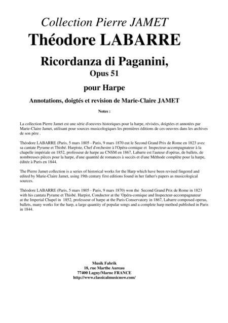 Théodore LABARRE Ricordanza di Paganini for solo harp