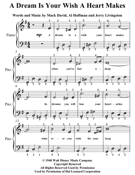 A Dream Is a Wish Your Heart Makes Easy Piano Sheet Music