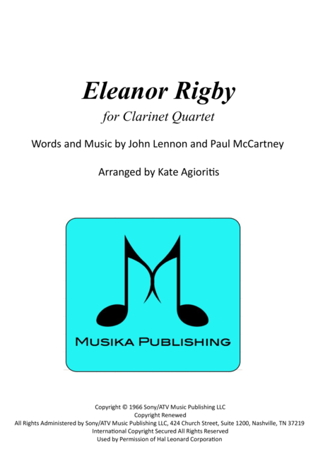 Eleanor Rigby for Clarinet Quartet