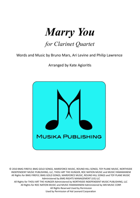 Marry You - for Clarinet Quartet