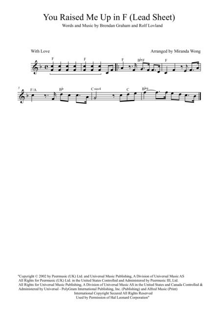 You Raise Me Up - Lead Sheet in F Key (Josh Groban)