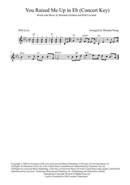 You Raise Me Up - Tenor or Soprano Saxophone Key + Concert Key (Josh Groban)