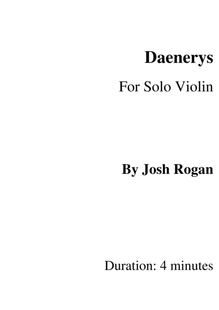 Daenerys- For Solo Violin