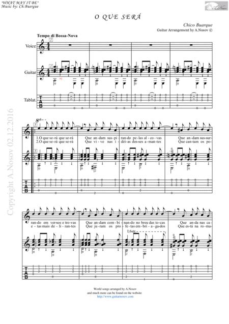 O Que Sera (Sheet music for vocals and guitar)
