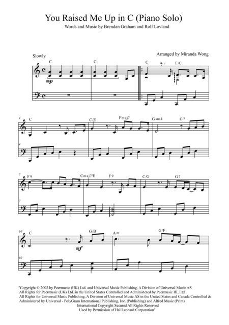 You Raise Me Up - Piano Solo in C Key (Gosh Groban)