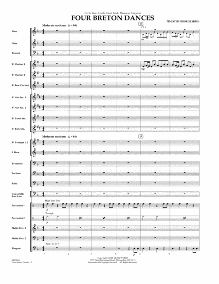 Four Breton Dances - Full Score