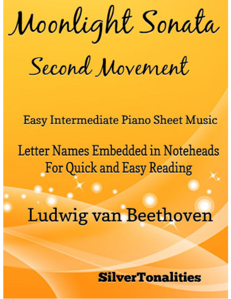 Moonlight Sonata Second Movement Easy Intermediate Piano Sheet Music